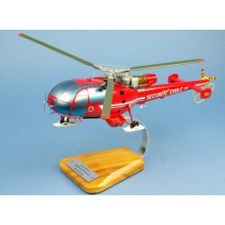 AS316B Alouette III Sécurité Civile Maquette Bois 1/25