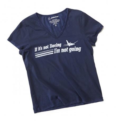 """T-Shirt Boeing FEMME """"IF IT'S NOT BOEING ...."""" BLEU MARINE"""