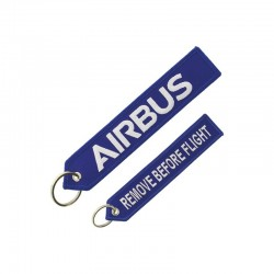 "PORTE CLE AIRBUS LOGO ""REMOVE BEFORE FLIGHT"" BLEU"