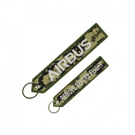 """PORTE CLE AIRBUS LOGO """"REMOVE BEFORE FLIGHT"""" CAMOUFLAGE"""
