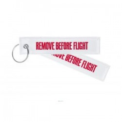 PORTE CLE REMOVE BEFORE FLIGHT BLANC
